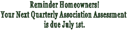 Reminder Homeowners!