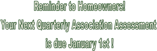 Reminder to Homeowners!