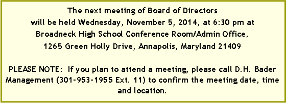 Text Box: The next meeting of Board of Directors